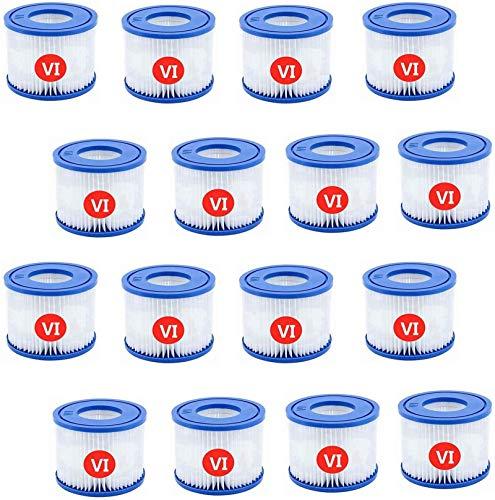 AGVEA Für Bestway VI Filter,VI Filter,Ersatz Filterkartusche Größe 6-58323, Kompatibel mit Vegas, Monaco, Palm Springs usw. Geeignet für die Whirlpools der für Lay-Z-Spa Serie. (16pcs)