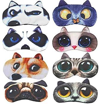 Cute Sleep Eye Mask for Sleeping Cartoon Super Soft and Lightweight Eye Cover Blindfold Eyeshade for Men Women Kid Plane Travel Nap Night Sleeping 8 Pack