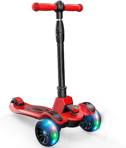 LJXin-Dreiradscooter Kick-Scooter-Kinder von 1 bis 12 Jahren mit 4-Flash-R rn Faltbares Design Rutschfester Handlauf Neigen Sie Sich für die Erholung im Freien