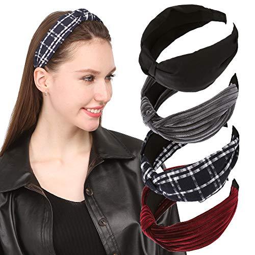 Sea Team Nouveaux bandeaux larges élastiques à la mode avec accessoire de noeud torsadé multicolore pour femmes et filles (paquet de 4)