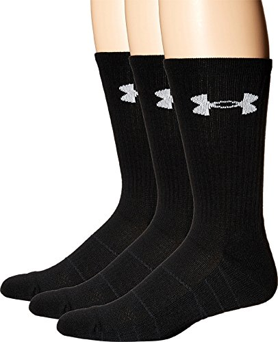 Under Armour Adult Elevated Performance Crew Socks, 3-Pairs, Black, Shoe Size: Mens 4-8, Womens 6-9