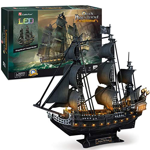 "powerful CubicFun 3D Puzzle 26.6 ""Pirate ship yacht model kit with 15 LED lights for adults Hobby toys, gifts for men's classroom decoration Queen Anne's revenge, 340 hard family puzzles"