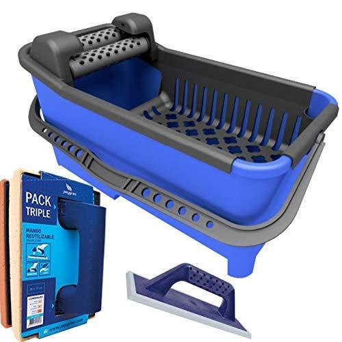 Peygran - Kit de limpieza: Cubo de 20 litros equipado con un sistema de rodillos que garantiza un drenaje máximo y más eficiente. Incluye talocha de rejuntado y talocha con tres esponjas diferentes.