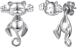 bijoux /él/égants pour femmes Collier de chat mignon Boucles doreilles de chat unique Ensembles de bijoux en argent 925 Cadeau de No/ël et Anniversaire