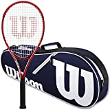 Wilson Federer Control 103 Tennis Racquet in Grip Size 4 3/8' Bundled with a Navy Advantage II Tennis Bag (Incredible Feel and Control)