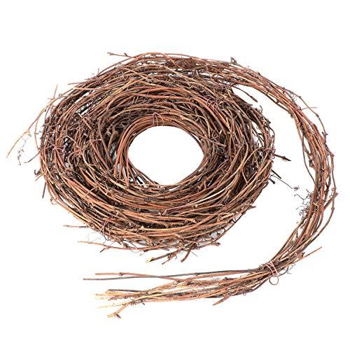Wakauto - Ghirlanda di vimini, ghirlanda di rami di vite naturale, filo in legno, decorazione per bricolage, artigianato, porta casa, decorazione per festa di vacanze