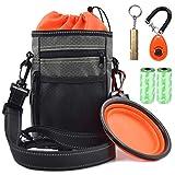 Vivi Bear Dog Treat Kit de bolsa reflectante con soporte de bolsa de caca Doggie Clicker Entrenamiento Silbato Comedero plegable Bolso de hombro impermeable Bolso de juguete para alimentador de perros