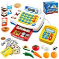 JOYIN Pretend Play Cash Register Shopping Machine Dual Languages, Includes Play Money, Scanner, Card Reader and Grocery Play Food Set, Great Kids Gifts, Toddler Toys from Joyin Inc