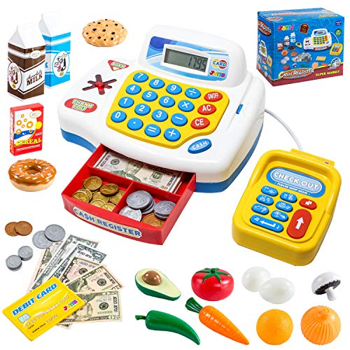 JOYIN Toy Cash Register Shopping Pretend Play Money Machine with