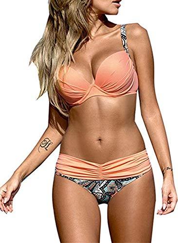 Astylish Women's Push Up Two Piece Bikini Swimsuits Padded Swimwear Bathing Suits Pink Medium 8 10