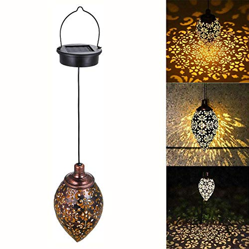 Outdoor Solar Lantern, LED Hanging Solar Garden Lantern,800MAH Battery IP65 Waterproof Retro Decorative Chandelier, Water Drop Iron Lamp Night Light Decorations for Yard, Lawn, Patio, Courtyard