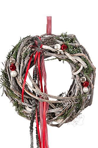 Dehner Weihnachtlicher Türkranz Chalet, handgefertigt, Ø ca. 30 cm, Naturmaterialien, hellgrau/rot/grün