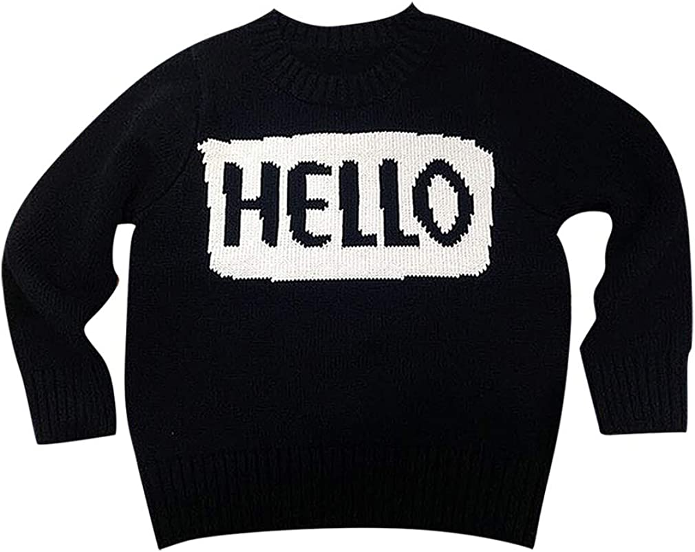 Sweety Kids Black Full Sleeve Round Neck Hello Or Bye Print Rib Cuff Sweaters