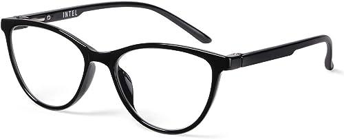 Intellilens Women Round Cat Eye Style Blue Cut Anti Glare UV Protection Full Frame Spectacles Glasses For Mobile Lapt...
