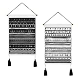 2 Pcs Macrame Woven Tapestry Bohemian Tapestry Geometric Art Tapestry with Tassel, Cotton Linen Black and White Tapestries for Room (13.8 x 19.7 inches)