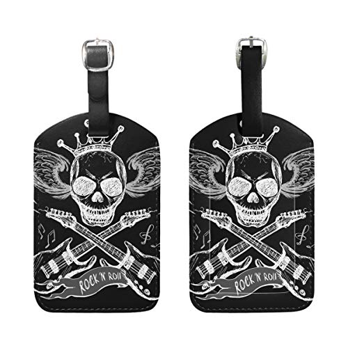 Luggage Tags, Skull Guitar Printed 2 Pack PU Case Suitcase ID Tag Labels Travel Bag Baggage