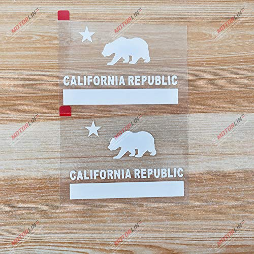 3S MOTORLINE 4'' White California Flag Cali State Republic Bear Decal Sticker Car Vinyl Die Cut Style b