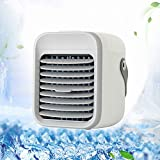 Personal Air Cooler,4 In 1 Rechargeable Mini Air Conditioner With Led Light Spray Air Humidifier,Portable Air Conditioner Fan for Home Office Outdoor Trave White 6x7inch