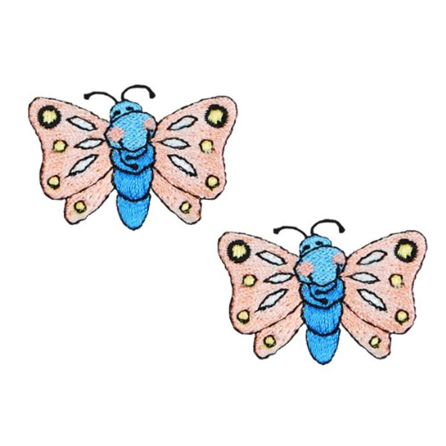 Expo Iron-on Embroidered Applique Patches, BaZooples Flutterbug, 2-Pack
