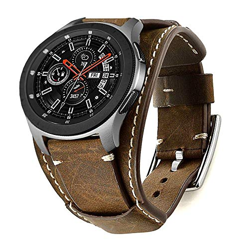 Leotop Correa Compatible con Samsung Galaxy Watch 46mm/Gear S3 Frontier/Classic, 22mm Vintage Pulsera de Cuero Genuino Reemplazo Banda de Bucle Acero Inoxidable para Mujeres Hombres (22 mm, Cafe)