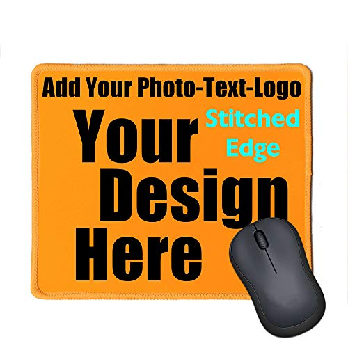 Personalized Photo Mouse Pad with Stitched Edge for a Unique Personalized Gift - Add Pictures, Text, Logo Or Art Design and Make Your own Customized Mouse Pads (Orange)