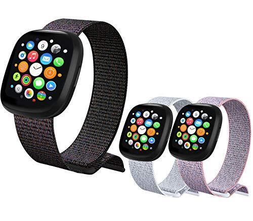 ATOO - 3 correas de nailon para Apple Watch de 38 mm, 40 mm, 42 mm, 44 mm, ligera, transpirable, de repuesto deportivo para iWatch Series 5, 4, 3, 2, 1 (38 mm/40 mm), color negro y gris y rosa