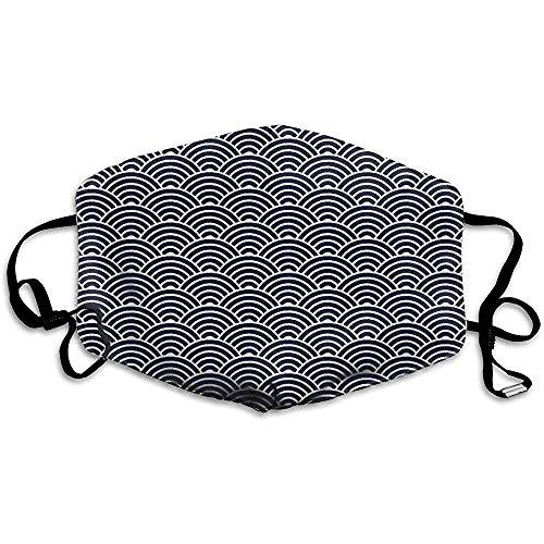 Gezichtsmaskers, stoffiltermaskers Mond Cover Maskers met Elastische Oor Loop (Blauwe Japanse Golven Blok Print)