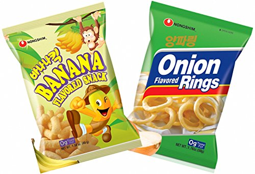 Nongshim Banana Flavored Snack, Onion Rings - Combo Pack (Pack of 2)