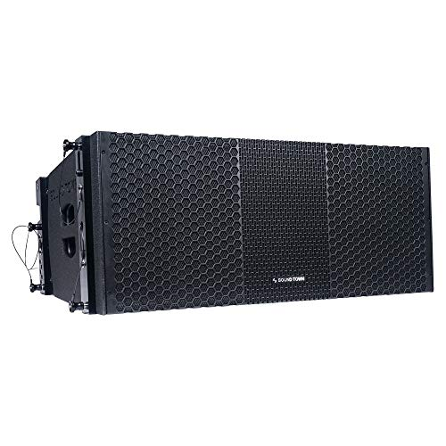 "Sound Town ZETHUS Series 2 x 10"" Line Array Loudspeaker System with Dual Titanium Compression Drivers, Full Range/Bi-amp Switchable, Black (ZETHUS-210B)"