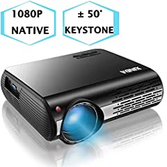 【 Native 1080P HD Projector and High Brightness】With native resolution of 1920*1080, 6200 lux of brightness and contrast ratio of 8000:1,XINDA 1080p projector is more vivid and 20% clearer than 1080p LED Projector for the same price.1080p projector u...