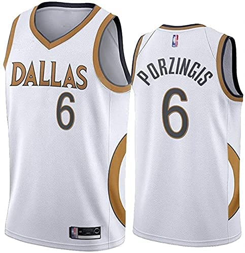 Jerseys Ropa Uniformes de Baloncesto de los Hombres, Dallas Mavericks # 6 Kristaps Porzingis NBA Tops Sueltos de Secado rápido Baloncesto Deportivo Camisetas sin Mangas, Blanco, (Size:/SG,Color:G1)