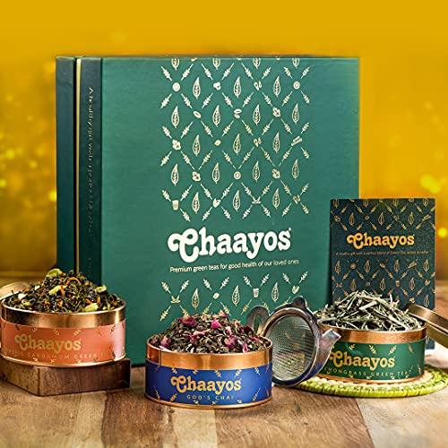 Chaayos Green Tea Gift Box   Perfect Rakhi Gift for Brother and Sister   Immunity Boosting Green Teas & Infuser   Gift of Health   Rakhi Gift Set   Green Tea  