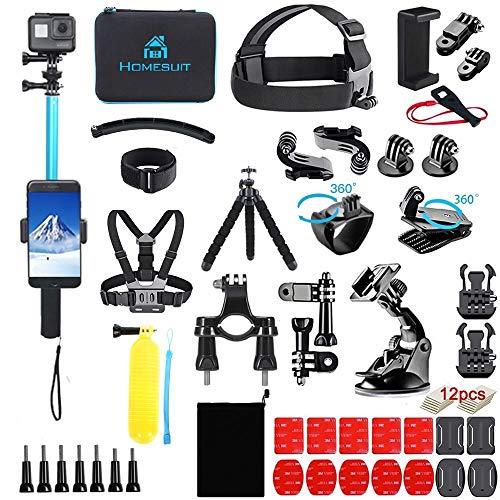 Homesuit 60-In-1アクションカメラ アクセサリーセットfor Hero 9 8 7 6 5カメラ4 3 3 2 1Black, SJ4000 SJ5000 SJ6000 SJ7000, DJI OSMO, DBPOWER, AKASO, Xiaomi,Yi APEMAN アクションカメラ