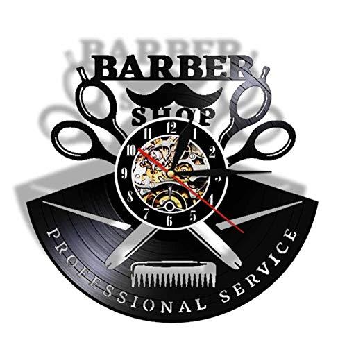 N/ Barershop Hommes Disque Vinyle Horloge Murale Cheveux Outils Coiffeur Cut Out Watch Salon - Coiffure pour Gentelmen