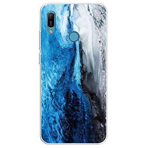 ChoosEU Compatibile con Cover Huawei Y6 2021 / Honor 8A Silicone Disegni Colorate Custodia Marmo Morbido per Ragazze Donne Uomo, Case Antiurto Divertente Gomma Matte Slim - Cielo