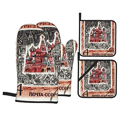 Guante de Horno de 4 Piezas y agarradera,La URSS Circa 1970 Sello,Guantes Aptos para Alimentos Antideslizantes Impermeables y Resistentes al Calor para microondas cocinar y Hornear en la Cocina