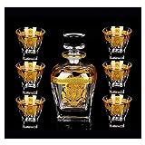 HLR Vasos de Whisky Jarra de Whisky Decantador de Cristal y Copa de Whisky de Cristal, Traje de Vino Rojo Creativo 790 ml / 200 ml de 7 Piezas