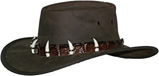 Crocodile Leather and 5-teeth Band on Fullgrain Cowhide Leather Hat