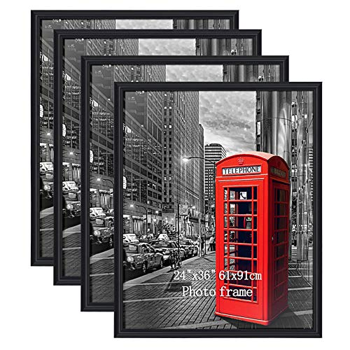 PETAFLOP 4 Pack 24x36 Frame for Pictures with Plexiglass Front, Black Poster Frames for 24 x 36 inch Wall Art