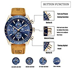 BENYAR Classic Fashion Elegant Chronograph Watch Casual Sport Leather Band Mens Watches (Brown-Blue) #2