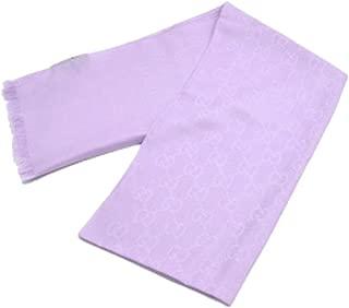 Gucci Women's Purple Lavender Wool Silk GG Guccissima Scarf 307245