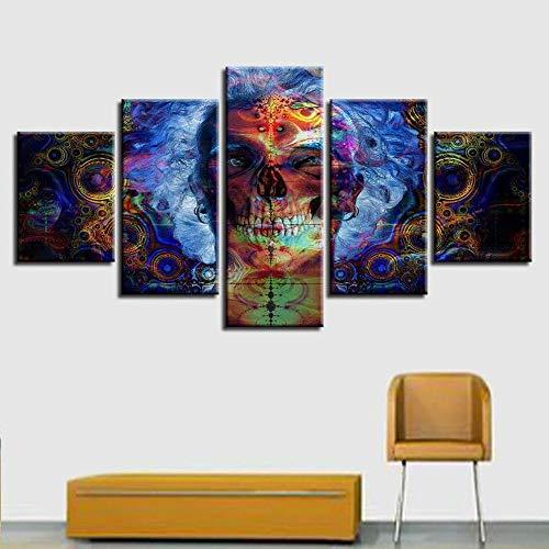 Lienzo en Cuadro Abstracto Moderno 200x100 cm Impresión Esqueleto de hombre sonriente colorido abstracto 5 Piezas Material Tejido no Tejido Impresión Artística Imagen Gráfica Decoracion de Pared Arte
