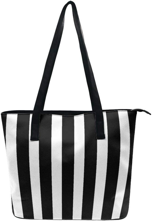 NiYoung Women Fashion Tote Bag, Lightweight Waterproof Handbag Shoulder Bag Large Capacity Bag for Business School Travel (Black White Striped)