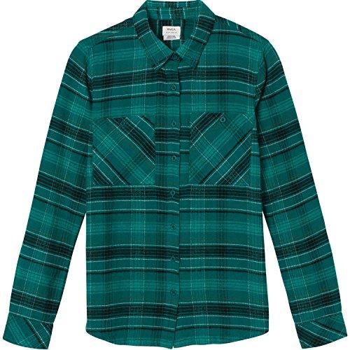 RVCA Damen ROAM Long Sleeve Flannel Shirt Button Down Hemd, Fichte, X-Groß