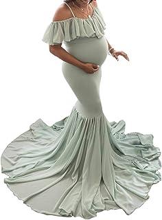 WanYangg Balze Abiti Eleganti Donne Incinte Pizzo Abiti Trailing Abito Lunga Gonne Fotografiche di maternità per Beach Ves...