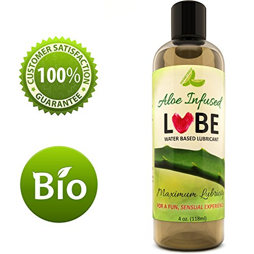 Personal Lubricant Water Based Sensitive Sensual Solution for Women and Men - All Natural Intimate Lube With Aloe Glycerin and Carrageenan - PH Balanced - Paraben Free - Silicone Free - 4oz