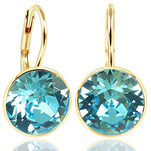 NOBEL SCHMUCK Ohrringe Gold Türkis mit Kristallen von Swarovski® 925 Sterling - schlicht modern