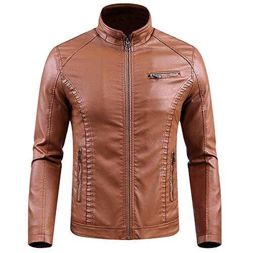 BDVGYXL Chaquetas para Hombre Chaquetas de Cuero de Invierno para Hombre Slim Fit Thermal Thick PU Coat Ropa de Abrigo para Motocicleta Hombre 6XL Amarillo
