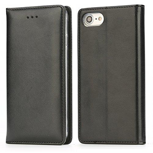 Handy 7 Plus Hülle,IPHOX Handyhülle iPhone 8 Plus Lederhülle Schutzhülle Tasche Leder Flip Hülle Wallet Stylish mit Standfunktion Etui für Apple iPhone 7Plus / 8Plus (5,5 Zoll) - Schwarz / E