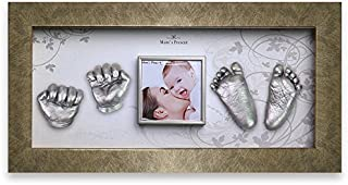Momspresent Baby Hand Print and Foot Print Deluxe Casting kit with White Frame3 Silver